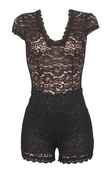 Fashion Black Net Ladies Short Jumpsuit