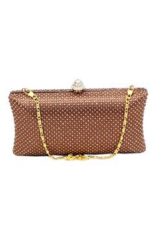 Fashion Brown Studded Ladies Clutch Purse