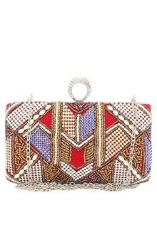 Fashion Red Beaded Ladies Clutch Purse
