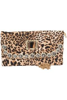 Fashion Animal Skin Studded Ladies Clutch Purse