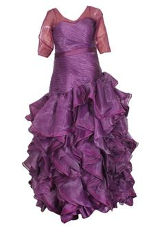 Fashion Purple Chiffon Ladies Dinner Gown