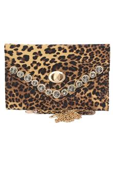 Fashion Leopard Skin Studded Ladies Clutch Purse