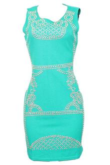 X.Y.M Green Studded Cotton Ladies Sleeveless Dress