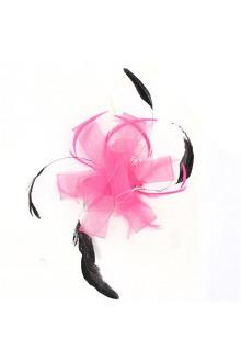 Juelz Pink/Black Feather Hair Fascinator