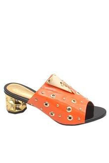 Gucci Gold Orange Leather Ladies Heel Slippers