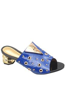 Gucci Gold Blue Leather Ladies Heel Slippers
