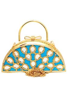 Fashion Gold Blue Studded Ladies Clutch Purse