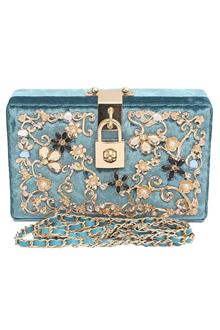 Fashion Blue Suede Studded Ladies Clutch Purse