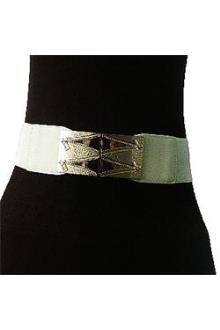 Cream Elastic Ladies Waist Belt Wt Zip Bronze Design L 25 in
