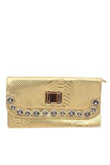 Fashion Gold Studded Croc Leather Ladies Clutch Bag