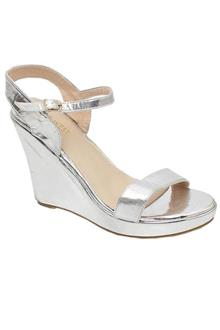 Nine West Silver Ladies Wedge Sandal