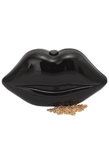 Fashion Black Lips Plastic Ladies Clutch Purse