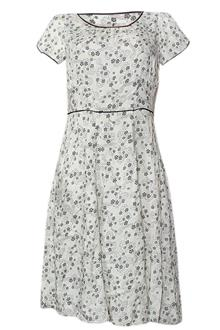 M & S White - Black Floral Design Ladies Dress