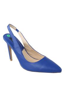 Zara Basic Blue Leather Ladies Heel Sandal