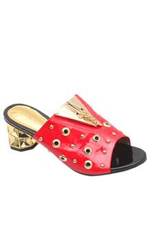 Gucci Gold Red Leather Ladies Heel Slippers