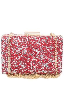 Red Studded Ladies Clutch Purse