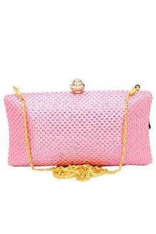 Fashion Pink Studded Ladies Clutch Purse