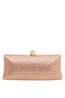 Swaroski Rose Gold Studded Metal Ladies Clutch Purse