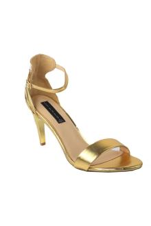Steve Madden Gold Leather Ladies Heel Sandal