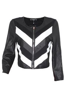 Cool Cat Black White Ladies Leather Jacket