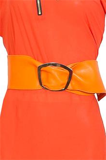 Orange Leather Ladies Wide Waist Belt Wt Circle Buckle 43 in