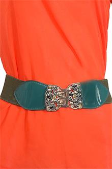 Classic Green Ladies Stomach Belt wt Gold Buckle L 27 in