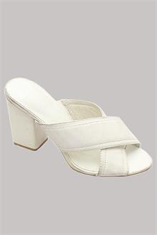 M & S Limited White Ladies Heel Slippers