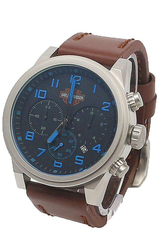 buy harley davidson silver blue design brown leather men watch harley davidson silver blue design brown leather men