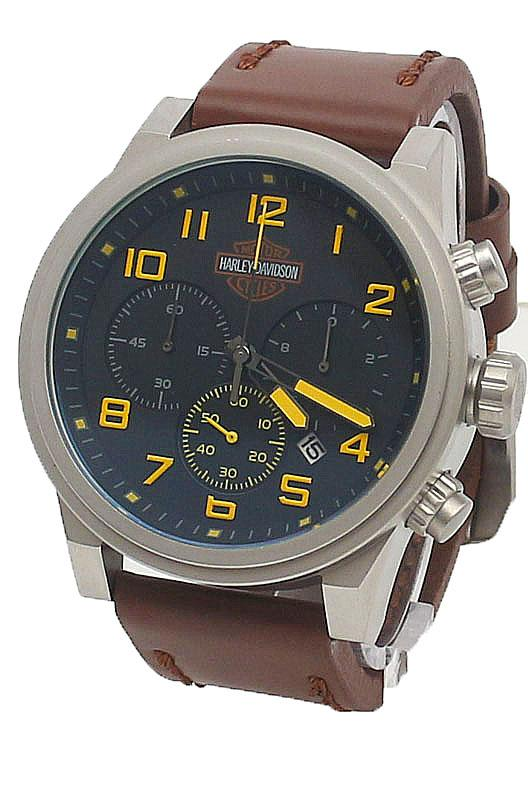 buy harley davidson silver yellow design brown leather men watch harley davidson silver yellow design brown leather men